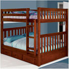 Merlot Full/Full Mission Bunk Bed w/5 Drawer Chest & Storage Drawers or Trundle