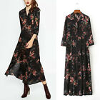 Vintage Women'S Black Floral Print Boho Maxi Long Tunic Shirt Dress Bloggers Fav