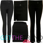 Womens Girls School Trousers Ladies Fitted Stretch Black Short Regular Long Pant