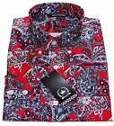 Relco Men's Red & Blue Paisley Button Down Long Sleeved Shirt Mod Retro 60's Vtg