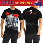 AU New Men T-shirt Muay Thai Boxing MMA Fighter Tiger Tattoo Black MT26 S-XL