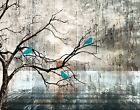 tree on white - Teal Brown Rustic Birds On Tree Branch Home Decor Wall Art Matted Picture