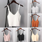 Women Knit Spaghetti Strap V Neck Vest Cami Tank Bardot Crop Tops Shirt Blouse
