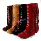 boho Womens Girl Tassles Wedge Moccasin KNEE HIGH Boots Roman Shoes All Size New