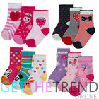 6 Pairs Baby Girls Ankle Socks Cartoon Design Cotton Footwear Babies Size 0-3.5