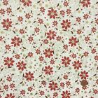 Christmas Fabric Ivory & red festive flower sold per  1/2 Metre or Fat quarter