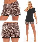 Ladies Satin Bed Pyjama Shorts Leopard Animal Print Brown Night Lace Silk Feel
