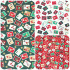 Christmas stamps design Fabric  sold per 1/2 Metre or Fat quarter 100% cotton