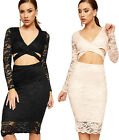 Womens Lace Wrapover Party Dress Ladies Lined Open Front Bodycon Long Sleeve