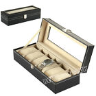 6/10/12/20/24 Faux Leather Watch Case Display Box Storage Jewellery Glass Top UK