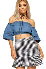 Womens Denim Bardot Boho Crop Top Ladies Gypsy Off Shoulder Short Flare Sleeve