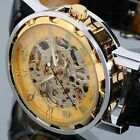 WINNER Fashion Men's Mechanical Leather Band Transparent Skeleton Wrist Watch