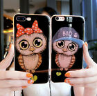 For iPhone 6 6s 7 plus OWL LITTLE Glitter Bling Soft Phone Case Cover with Strap