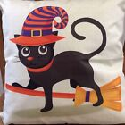 New Halloween Black Cat Throw Pillow Fall Gothic Decor Haunted Scary Cat Eyes