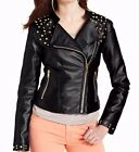 HYDRAULIC Pink Envelope Black/Gold Studded Stretch Faux Leather Jacket