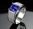 925 Sterling Silver Ring With Natural Faceted Tanzanite & CZ Size US 4 To 8