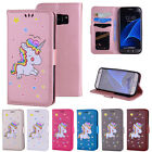 Cute Unicorn Pattern PU Leather Wallet Flip Case Cover for Samsung S5 S6 S7 Edge