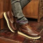 Men Snow Lace Military High Top PU Leather Punk ANkle Boots Round Combat British