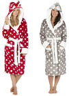 Ladies Christmas Dressing Gown Hooded Fleece Winter Robe Grey Red Animal Face