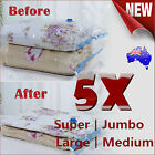 5x Vacuum Storage Bags Seal Compressing Space Saving Experts 4 Size To Choose AU