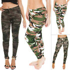 New Womens Camouflage Camo Print Full Length Ladies Leggings Pants Size 8 10 12