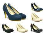 Womens Office Casual Walk Stiletto Mid Heels Pump Court Suede Leather Shoes Size