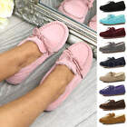 Womens ladies fur lined lace slip on house shoes moccasins winter slippers