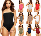 Womens Bandeau Boobtube Bardot Plain Leotard Top Ladies Stretch Bodysuit 8-14