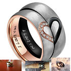 His Hers Real Love Heart Promise Ring Stainless Steel Couples Wedding Engagement