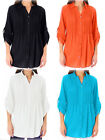 New Ladies  Cotton Collared Shirt Pintuck Roll Sleeve Blouse Top Plus Size 18-44