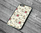 Floral Owl Flowers Protective Rubber Phone Case For Iphone 4 4S 5 5S 6S 7 8 PLUS
