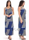 Women Ladies Stripe Bloom Maxi Blue Contrast Monochrome Sleeveless Dress