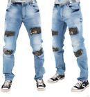 Denim King Mens Boys Stone Wash Blue Camo Patch Frayed Star Jeans Hip Hop G Wear