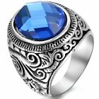 Men's Vintage Floral Stainless Steel with Blue Stone Wedding Ring Band Size N-Z3