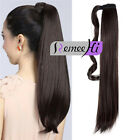 Clip-In Ponytail Remy Hair Extensions Brazilian Hairpiece Straight Dark Brown