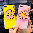 For iPhone 6/6S/7 Plus Cute Smile Sunflower Mirror Soft Case Cover & Neck Strap