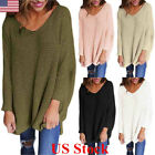 Us Women V Neck Knitted Sweater Ladies Loose Oversized Casual Chunky Jumper Tops