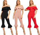Womens Bardot Off Shoulder Frill Hem Cropped Trousers Ladies Crepe Jumpsuit 8-14