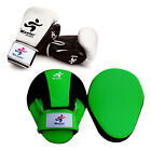 Training Boxing Set Pads Curved Hook & Jab Mitts Leather Boxing Gloves