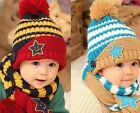Children Skullies & Beanies Scarf Hat Set Baby Boys Girls Knitted kids Hats Caps