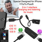 Dual Lightning Headphone Audio Adapter & Splitter Charge Cable F iPhone 8 7 Plus