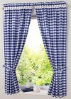 Village Blue grid block Home Kitchen window Cafe Curtain rod pocket