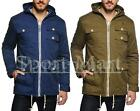 Mens Soulstar Full Zip Hooded Cargo Padded Coat Long Jacket Size