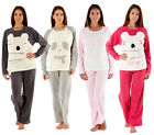 Womens Ladies Brushed Fleece Warm Lounge wear Pyjama Set Bottoms Pjs Pants Top