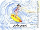 PERSONALIZED CUSTOM CARTOON PRINT - SURFER - GREAT GIFT IDEA! FREE S/H