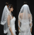 2T  White/Ivory Embroidery Edge Elbow Length Bridal Wedding Veil with Hair Comb