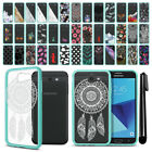 For Samsung Galaxy J7 2017/ J7V J727 Hybrid Clear Teal bumper Case Cover + Pen