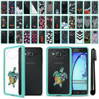 For Samsung Galaxy On5 G550 G500 Hybrid Clear TPU Teal bumper Case Cover + Pen