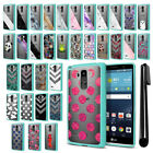 For LG G Stylo LS770 G4 Note Hybrid Clear TPU Teal bumper Case Cover + Pen