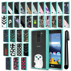 For LG K8V VS500 Hybrid Clear TPU Teal bumper Protective Case Cover + Pen